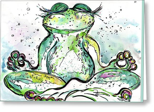 Zen Frog Greeting Card by Reba Mcconnell