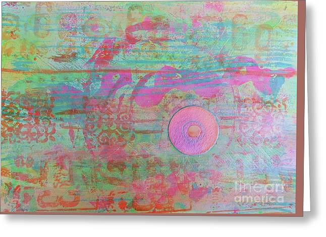 Zen In Pink And Green Greeting Card by Desiree Paquette