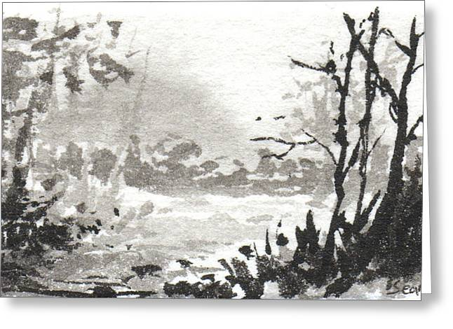 Greeting Card featuring the painting Zen Ink Landscape 3 by Sean Seal