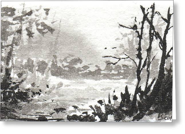 Zen Ink Landscape 3 Greeting Card by Sean Seal