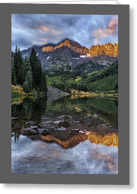 Zen Moment At Maroon Lake Greeting Card by Thomas Schoeller