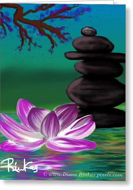 Zen Pool- Night Greeting Card by Diana Riukas