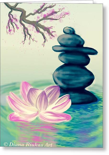 Zen Pool -tan Greeting Card by Diana Riukas