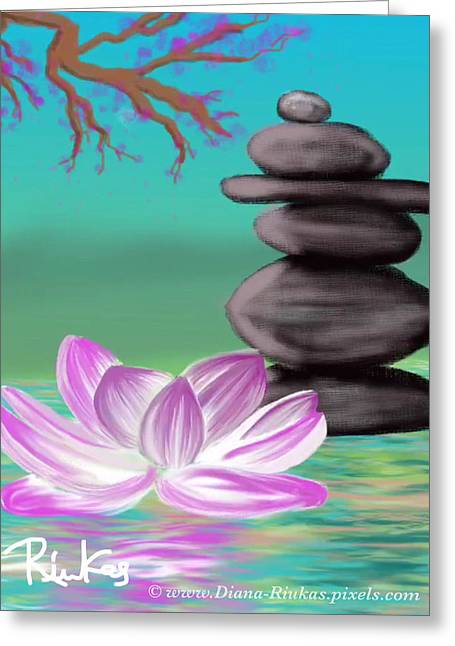 Zen Pool- Turquoise Greeting Card by Diana Riukas