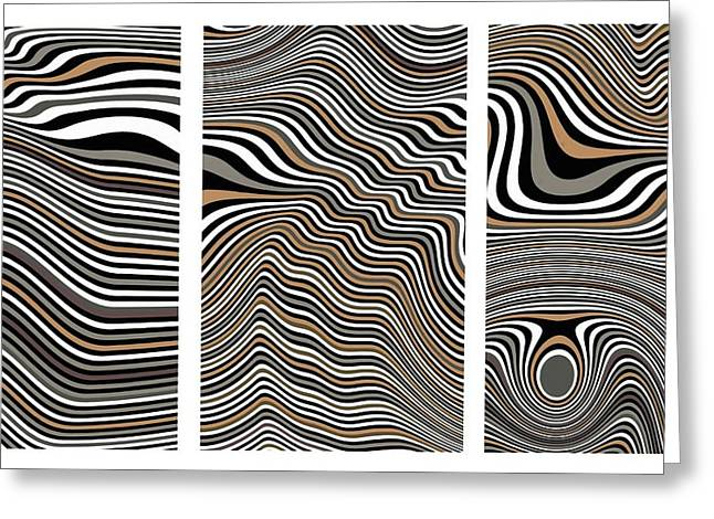 Zen Stone Garden Triptych Greeting Card by Pet Serrano