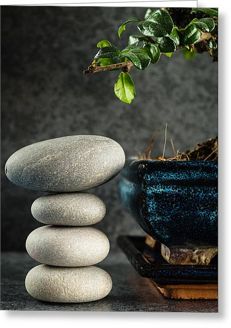 Zen Stones And Bonsai Tree Greeting Card by Marco Oliveira