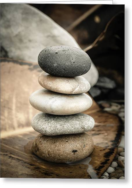 Zen Stones Iv Greeting Card by Marco Oliveira