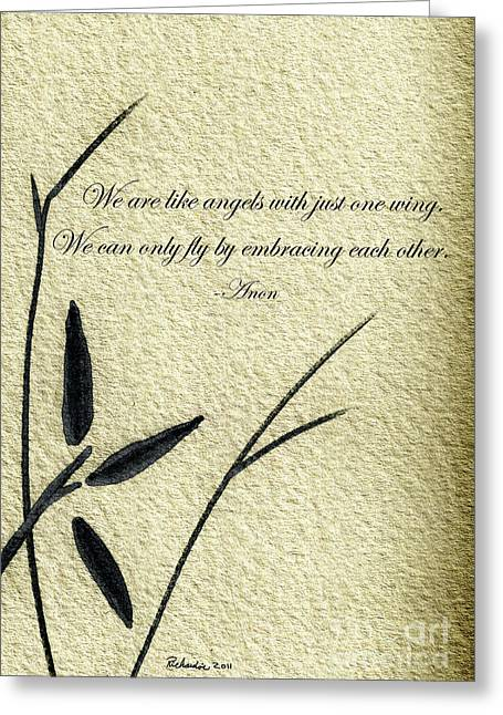 Zen Sumi 4d Antique Motivational Flower Ink On Watercolor Paper By Ricardos Greeting Card