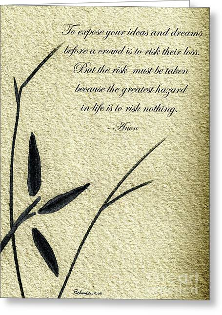 Zen Sumi 4n Antique Motivational Flower Ink On Watercolor Paper By Ricardos Greeting Card