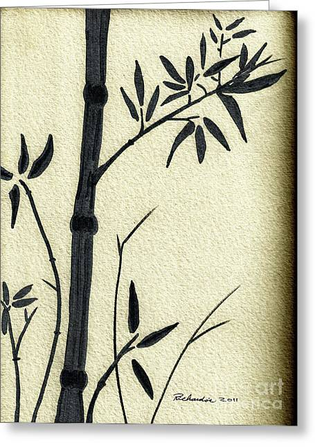 Zen Sumi Antique Bamboo 1a Black Ink On Fine Art Watercolor Paper By Ricardos Greeting Card