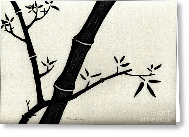 Calligraphy Print Mixed Media Greeting Cards - Zen Sumi Antique Bamboo 2a Black Ink on Fine Art Watercolor Paper by Ricardos Greeting Card by Ricardos Creations