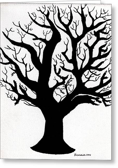 Zen Sumi Tree Of Life Enhanced Black Ink On Canvas By Ricardos Greeting Card by Ricardos Creations