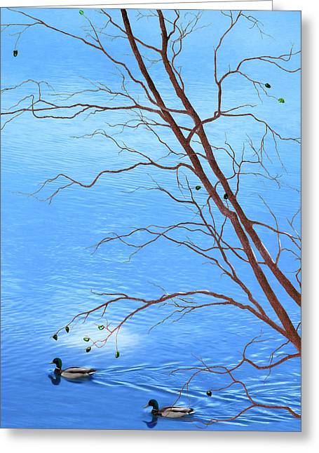 Zen Tree - Autumn Waterscape Greeting Card by Rayanda Arts