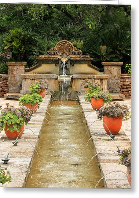 Zen Water Feature Waterfall Greeting Card