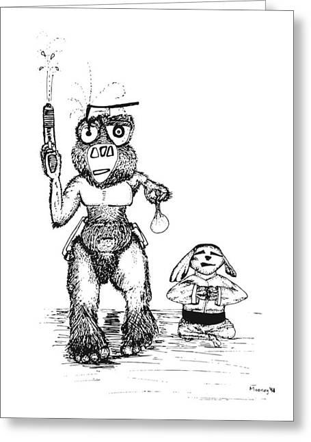 Best Sellers -  - Sketchbook Greeting Cards - Zen Water Fight Greeting Card by Michael Mooney