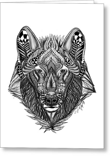 Zendoodle Wolf Greeting Card