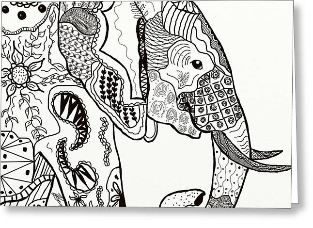 Zentangle Elephant Greeting Card