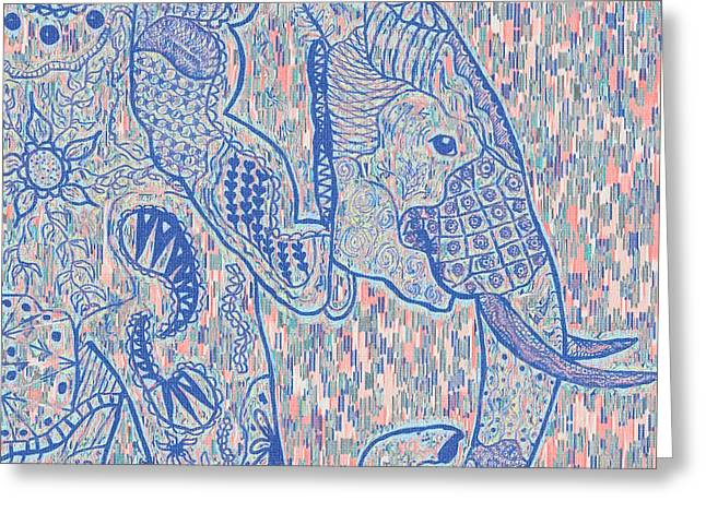 Zentangle Elephant-oil Greeting Card