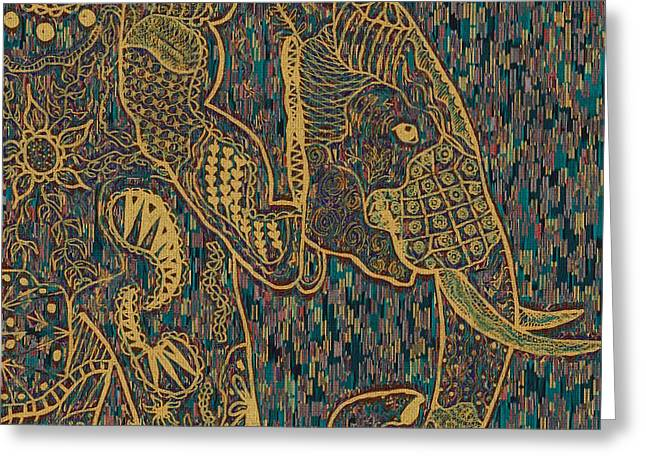 Zentangle Elephant-oil Gold Greeting Card by Becky Herrera