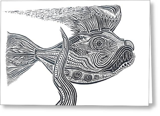 Zentangle Fish Greeting Card by Steve  Hester