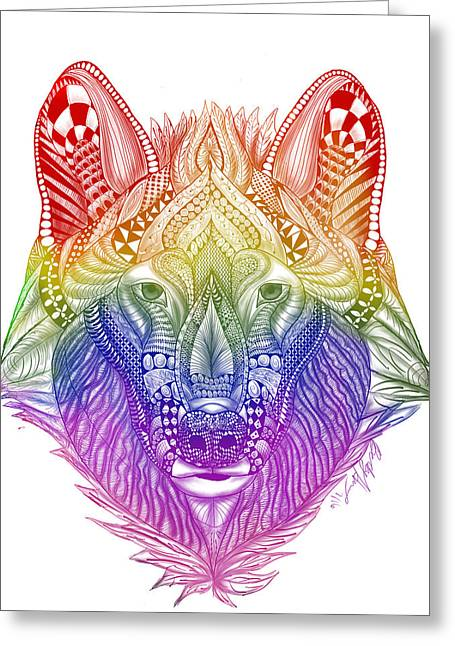 Zentangle Inspired Art- Rainbow Wolf Greeting Card