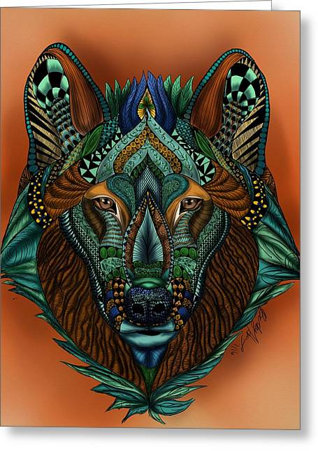 Greeting Card featuring the painting Zentangle Inspired Art- Wolf Colored by Becky Herrera