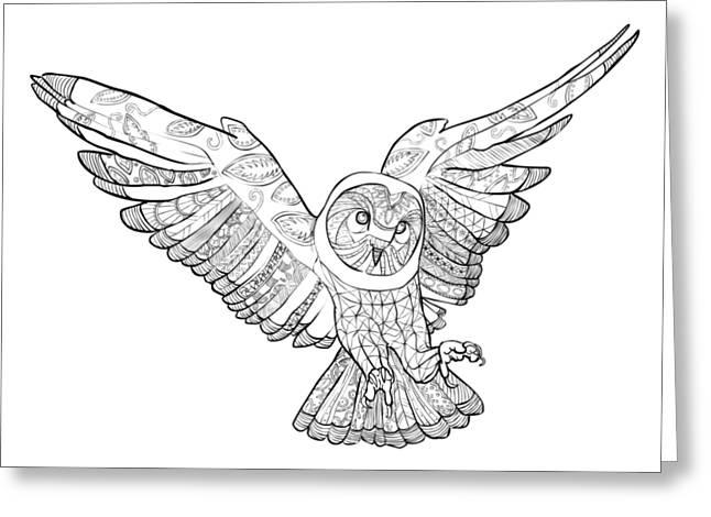 Zentangle Owl In Flight Greeting Card