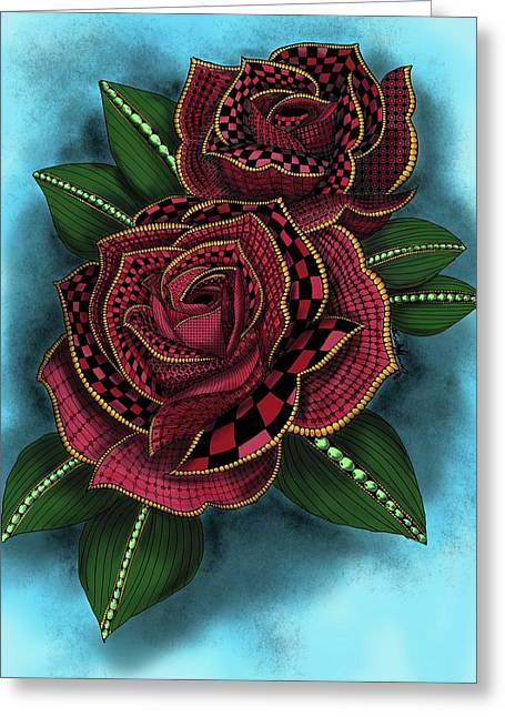 Greeting Card featuring the painting Zentangle Tattoo Rose Colored by Becky Herrera