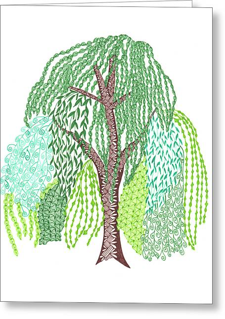 Zentangled Willow Tree Greeting Card by Sharon White