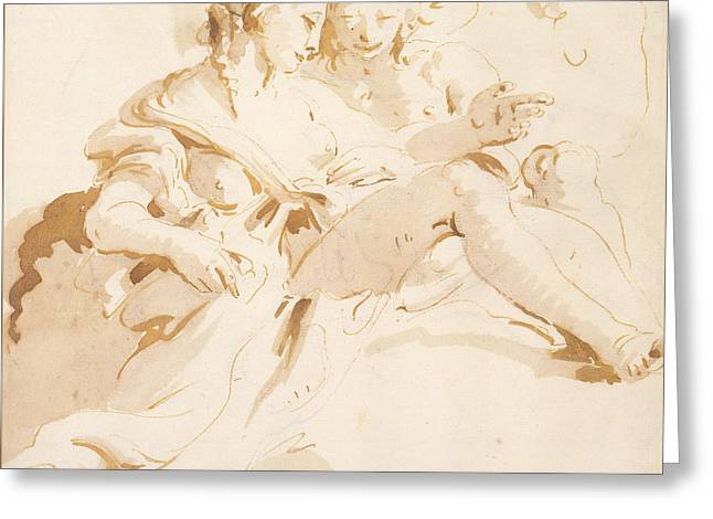 Zephyr And Flora Greeting Card by Tiepolo