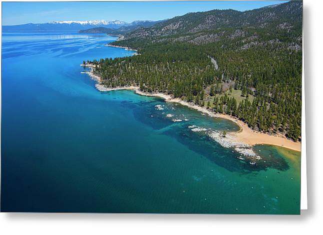 Greeting Card featuring the photograph Zephyr Cove To Cave Rock Aerial by Brad Scott