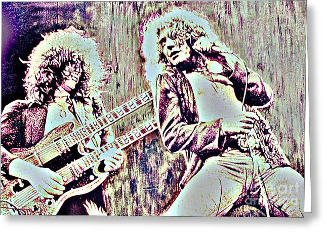 Zeppelin Concert On Wood  Greeting Card