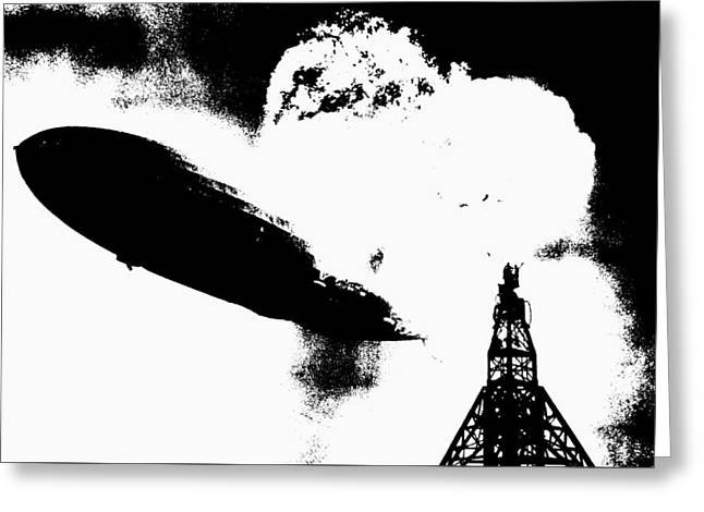 Zeppelin Hindenburg Explosion Graphic Greeting Card