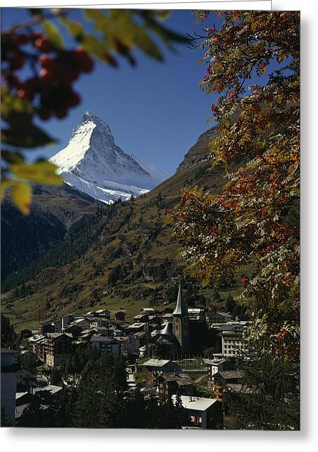 Zermatt Village With The Matterhorn Greeting Card