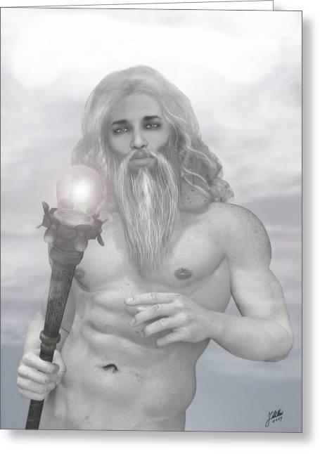 Zeus As Gray Wizard Greeting Card