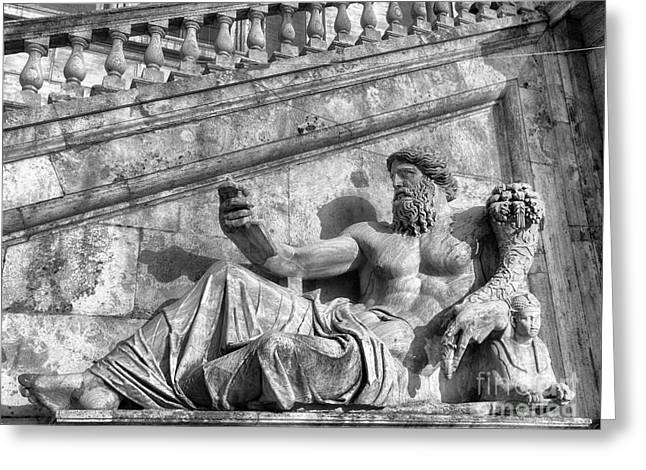 Zeus Black And White Greeting Card by Stefano Senise