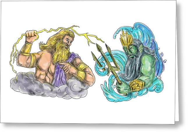Zeus Thunderbolt Vs Poseidon Trident Tattoo Greeting Card
