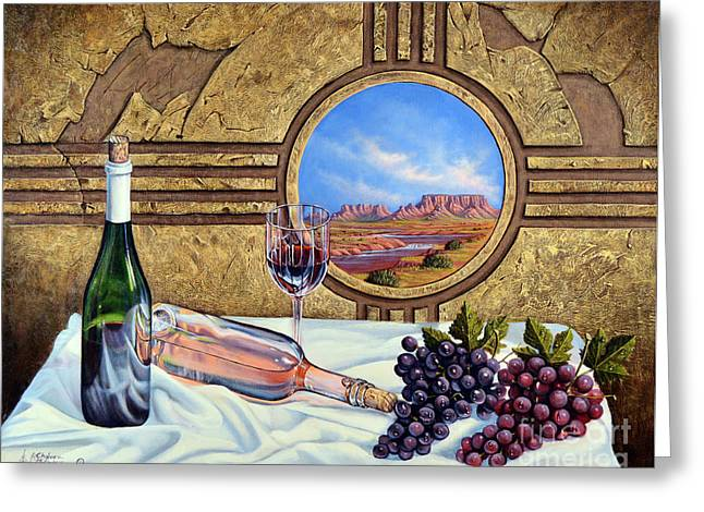 Zia Wine Greeting Card by Ricardo Chavez-Mendez