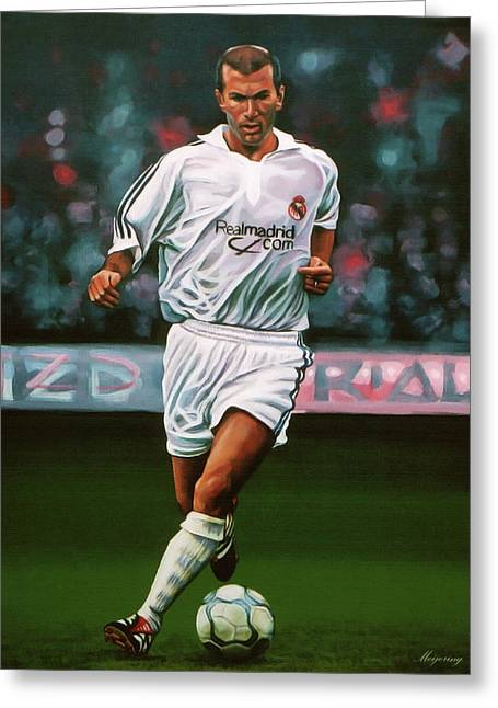 Zidane At Real Madrid Painting Greeting Card by Paul Meijering