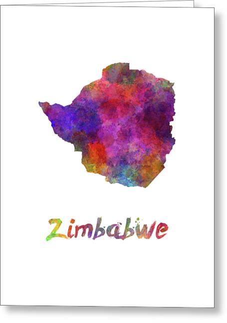 Zimbabwe In Watercolor Greeting Card