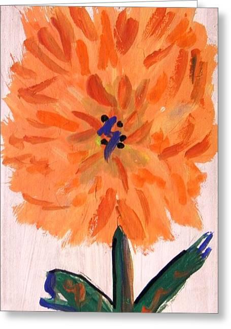 Zinnia On Whitewash Greeting Card by Mary Carol Williams