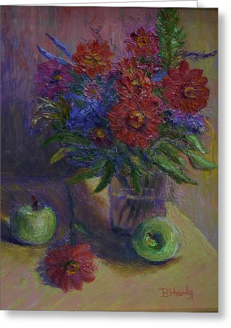 Zinnias And Apples Greeting Card by Bonnie Hanly
