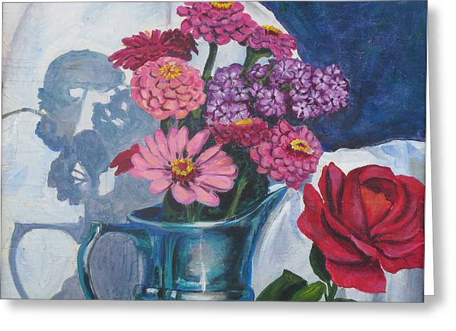 Zinnias And Rose In The Eveing Light  Greeting Card by Judy Loper