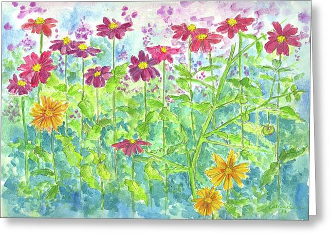 Greeting Card featuring the painting Zinnias  by Cathie Richardson