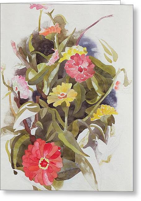 Zinnias Greeting Card by Charles Demuth