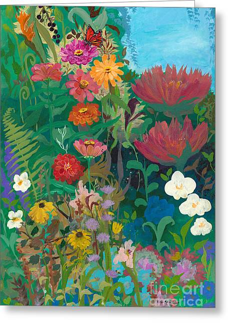 Zinnias Garden Greeting Card