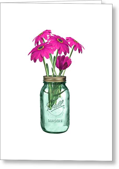 Zinnias In A Mason Jar Greeting Card by Anne Kitzman