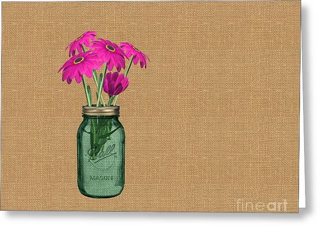 Zinnias In A Mason Jar On Burlap Greeting Card by Anne Kitzman