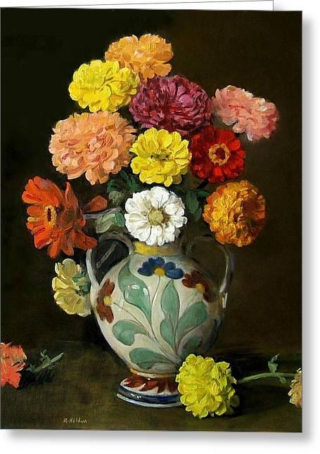 Zinnias In Decorative Italian Vase Greeting Card