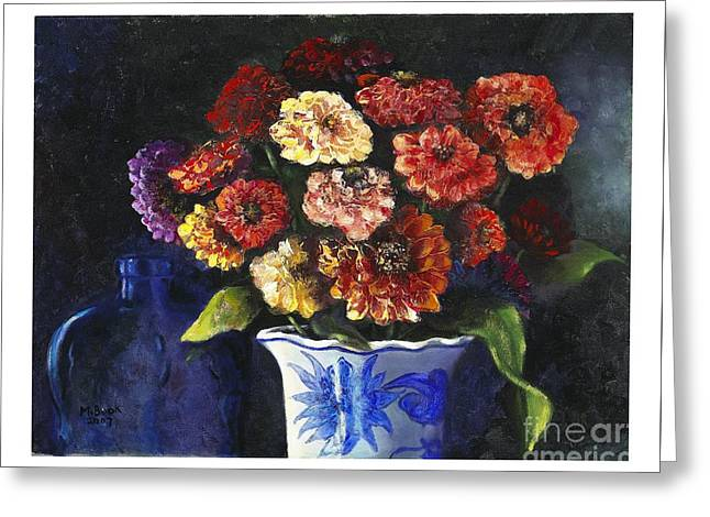 Zinnias Greeting Card by Marlene Book
